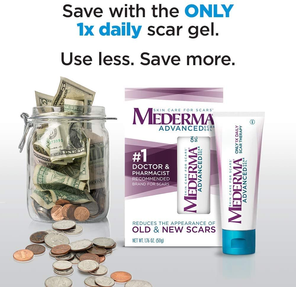 Mederma Advanced Scar Gel 1x Daily Reduces The Appearance Of